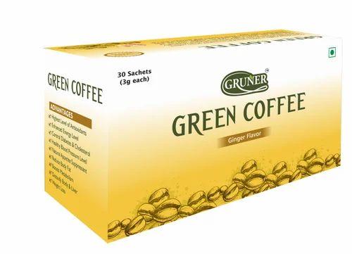 Natural Gruner Green Coffee Bean Powder 30 Sachet Ginger Flavor