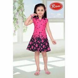 Festive Wear Frocks & Dresses Girl's Pink Heavy Cotton Frock, Size: 20 to 30