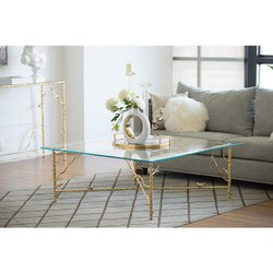 Aluminium High Class Centre  Coffee Table With Glass Top