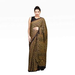 Cocoonkapas Modal Silk Ajrakh Ladies Printed Saree, 6.5 Meter, With Blouse Piece