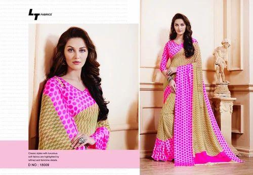 f97e23450c Satin Pink Printed Border Saree, Rs 700 /piece, VDreamsFashionHouse ...