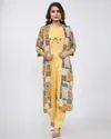 Rayon Print Crop Top With Jacket Machine Embroidery Kurti