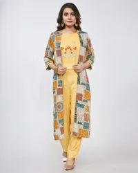 Fidaindia 3/4th Sleeve Rayon Print Crop Top With Jacket Machine Embroidery Kurti