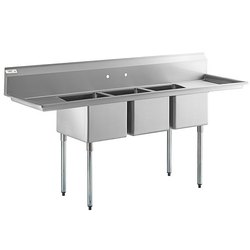 Stainless Steel Triple Compartment Sink For Hotel