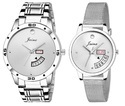 Silver Day And Date Couple Watch