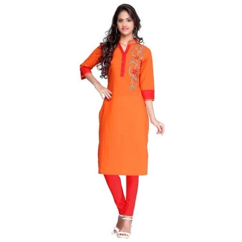 Cotton Ladies Band Collar Casual Wear Kurti