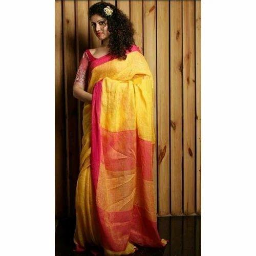 326cbc5495 Ladies Fancy Linen Party Wear Saree