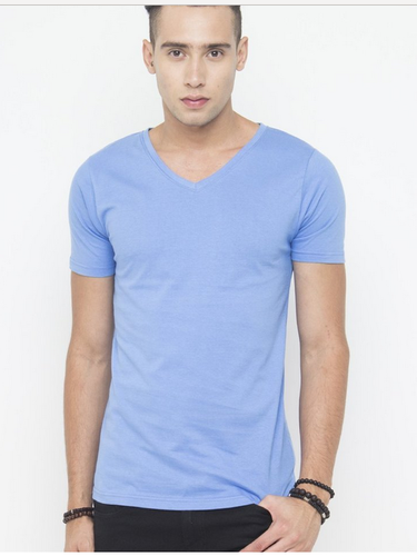 5a2fe21a503e Cotton Men Muscle Fit V Neck Tee In Blue T Shirt, Size: XL, Rs 399 ...