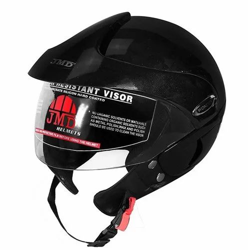 Black Wonder With Peak Glossy Black Helmet, Packaging Type: Box