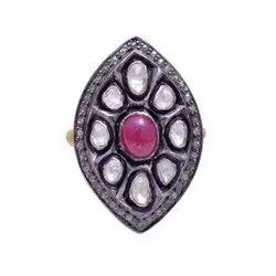 Ruby Diamond Polki Sterling SIlver Ring