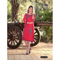 Rayon Round Neck Pink Embroidered Kurti, Size: XL