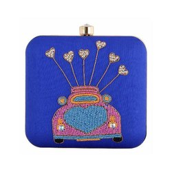 Blue Designing with Beautiful Pearl Embroidery Handmade Work Clutch
