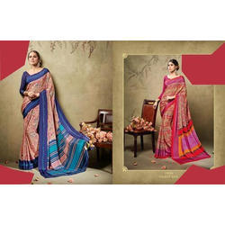 Border Floral Print Printed Cotton Silk Sarees, With Blouse Piece, 5.5 m (separate blouse piece)