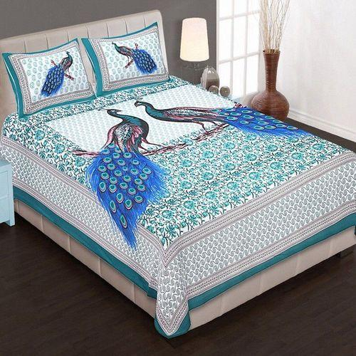King Size Double Bed Sheet With 2 Pillow Covers 100% Cotton