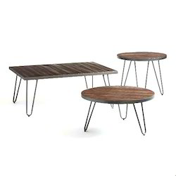 Wood Metal Center Table Set for Office