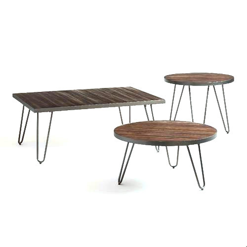 Wood Metal Center Table Set