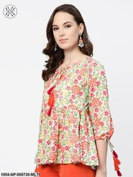 Off White and Multi Floral Printed Top with Dori Detailing On Sleeves