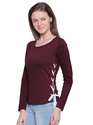 Ladies Cotton Burgundy T-Shirt