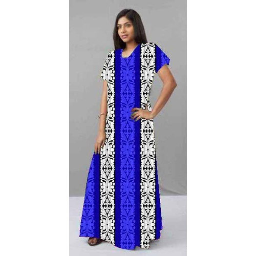 Printed Elegant Half Sleeves Ladies Cotton Gown
