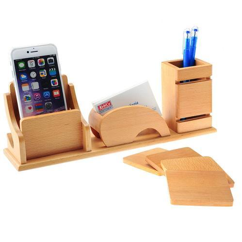 Kebica Natural Wood Table Accessory Desk Organizer