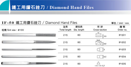 Stainless Steel Smooth Diamond Hand File IF-50