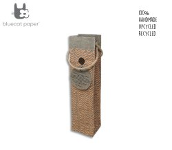 Fabulous Handmade Linen Paper Wine Bag - Orange Zigzag