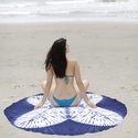 Round Blue Colored Beach Throw Tapestry