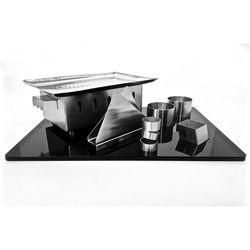 Silver Black Theme Rectangular Snack Service Set