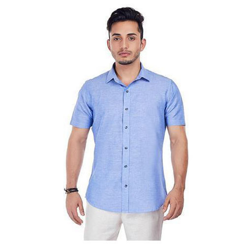 50807823bad Plain Half Sleeves Men  s Half Sleeve Shirt
