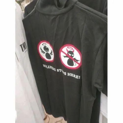 Cotton Mens Black Custom T Shirt, Packaging Type: Packet