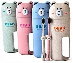 Wheat Material Lovely Bear The Pooh Travel Suit with Bamboo Charcoal Toothbrush/Toothpaste Holder