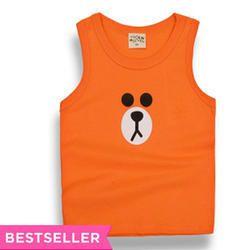 Orange Teddy Print Vest