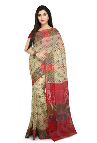a07a31123a Wooden Tant Dhakai Jamdani Handloom Saree In Beige With Multicolor Thread  work