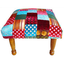 Indian Velvet Kantha Chowki - Foot Stool