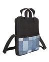 Cotton Blue Checkered Office Laptop Bag with Handle