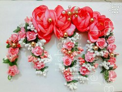 Artificial red flowers hair juda