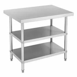 SS Working Table With 2 Undershelves