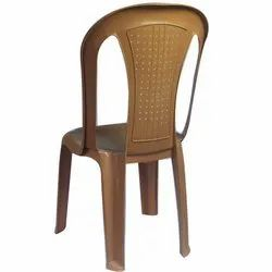 Brown Plastic Armless Chair
