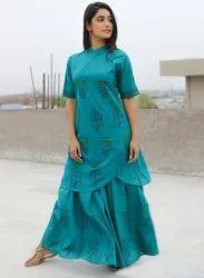 Green Half Sleeve Cotton Hand Block Printed Linen Dress