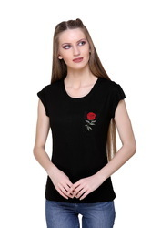 Fashionable Round Neck Women Top With Chest Embroidery