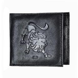 Leo Zodiac Sign Embossed Mens Leather Wallet
