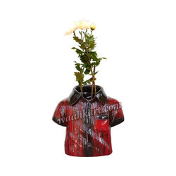 Red And Black Shirt Shaped Planter