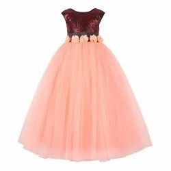 Sequince Embellised Girls Party Wear Gowns, Age: 2-3 to 11-12 Years
