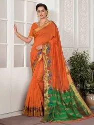 Festive Wear Cotton Silk Saree With Blouse Piece, 6.3 M