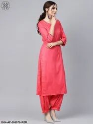 Red 3/4th Sleeve Cotton Kurta Set