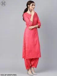 Red Sleeve Cotton Kurta Set