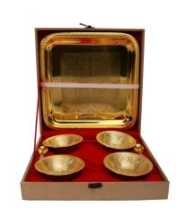 Gold Plated Four Bowl With Tray & Spoon