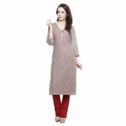 3/4th Sleeve Party Wear Ladies Straight Kurti