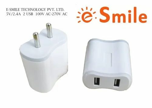 2.4 Amp White, BIS Certified, Smart Travelling Charger with Dual USB