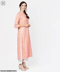 Cotton Ethnic Wear Peach Printed 3/4Th Sleeve Kurta With Dupatta And White Palazzo